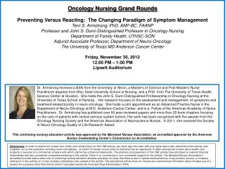 Oncology Nursing Grand Rounds