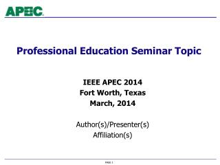 Professional Education Seminar Topic