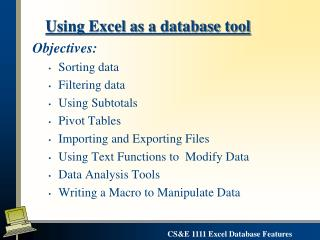 Using Excel as a database tool
