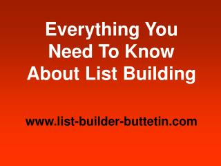 List Builder Bulletin