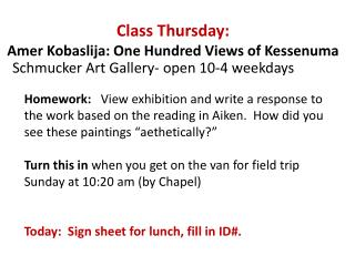 Class Thursday: Amer Kobaslija : One Hundred Views of  Kessenuma