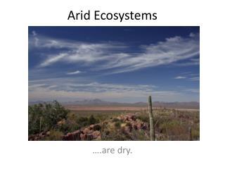 Arid Ecosystems