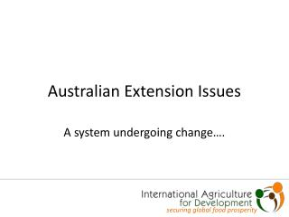 Australian Extension Issues