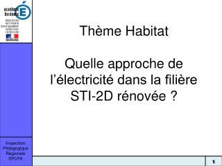 Thème Habitat Quelle approche de l'électricité dans la filière STI-2D rénovée ?