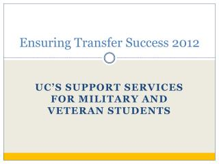 Ensuring Transfer Success 2012