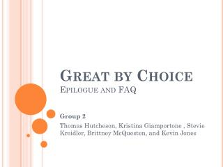 Great by Choice  Epilogue and FAQ