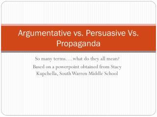 Argumentative vs. Persuasive Vs. Propaganda