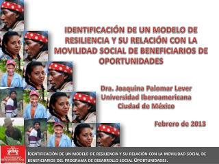 Dra. Joaquina Palomar Lever Universidad Iberoamericana Ciudad de M�xico Febrero de 2013