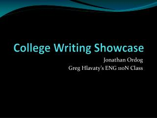 College Writing Showcase