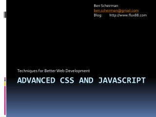 Advanced CSS and JavaScript