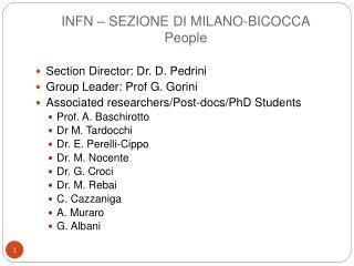 INFN – SEZIONE DI MILANO-BICOCCA People
