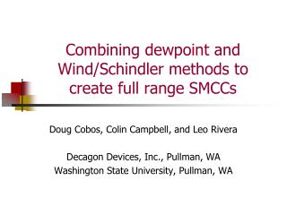 Combining  dewpoint  and Wind/Schindler methods to create full range SMCCs