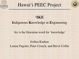 Hawai ' i PEEC Project