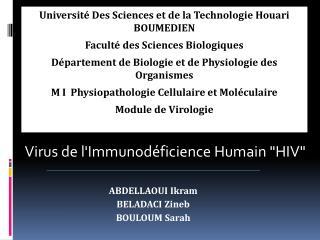 Université Des Sciences et de la Technologie Houari BOUMEDIEN Faculté des Sciences Biologiques