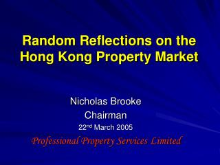 Random Reflections on the Hong Kong Property Market