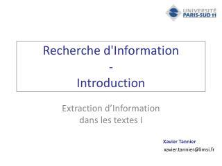 Recherche d'Information - Introduction