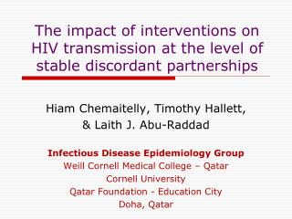 The impact of interventions on  HIV transmission at the level of stable discordant partnerships