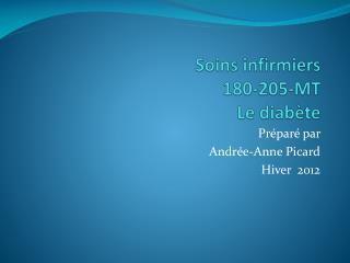 Soins infirmiers  180-205-MT Le diabète