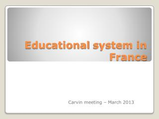 Educational  system in France