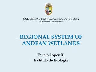 REGIONAL SYSTEM OF ANDEAN WETLANDS Fausto López R. Instituto de Ecología