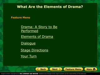 What Are the Elements of Drama?