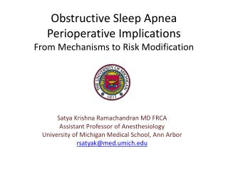 Obstructive Sleep Apnea  Perioperative Implications From Mechanisms to Risk Modification