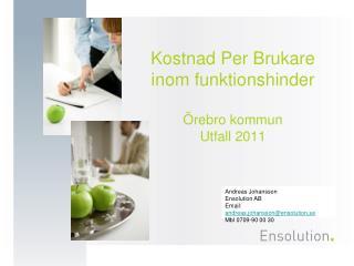 Kostnad Per Brukare inom funktionshinder Örebro kommun Utfall 2011