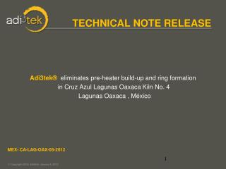 TECHNICAL NOTE RELEASE