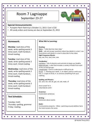 Room 7 Lagniappe September 23-27