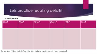 Lets practice recalling details!