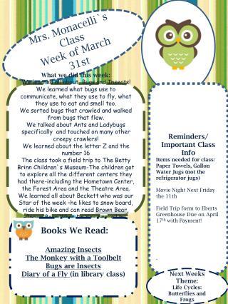 Mrs . Monacelli`s Class Week  of March 31st