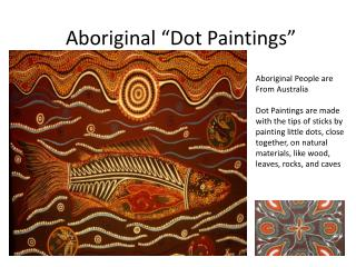 "Aboriginal ""Dot Paintings"""