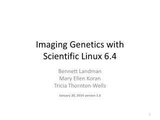 Imaging Genetics with  Scientific Linux 6.4