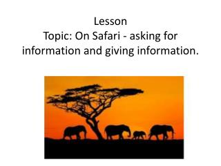 Lesson Topic: On Safari - asking for information and giving information.