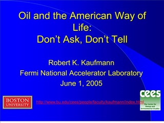 Oil and the American Way of Life: Don
