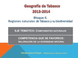 Bloque II.  Regiones naturales  de  Tabasco y su biodiversidad