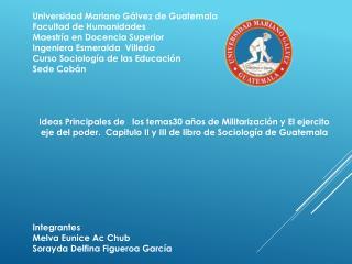 Universidad Mariano Gálvez de Guatemala Facultad de Humanidades  Maestría en Docencia Superior