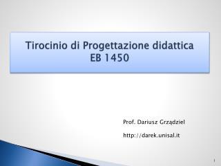 Tirocinio di Progettazione didattica EB 1450
