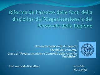 Università degli studi di Cagliari Facoltà di Economia