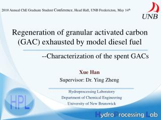 Regeneration of granular activated carbon (GAC) exhausted by model diesel fuel
