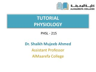 TUTORIAL PHYSIOLOGY