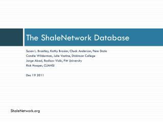 The  ShaleNetwork Database