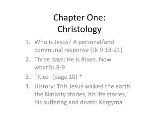 Chapter One: Christology