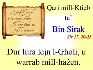 Qari  mill-Ktieb  ta' Bin  Sirak Sir  17, 20-28