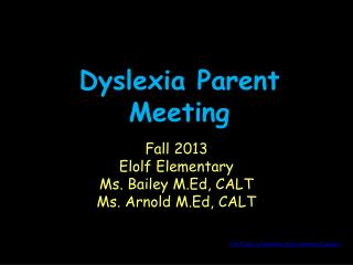 Dyslexia Parent Meeting