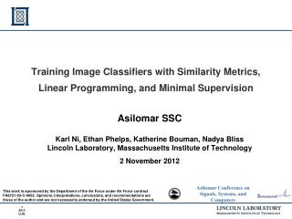 Training Image Classifiers with Similarity Metrics, Linear Programming, and Minimal Supervision