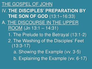 THE GOSPEL OF JOHN  IV.  THE DISCIPLES' PREPARATION BY THE SON OF GOD  (13:1–16:33)