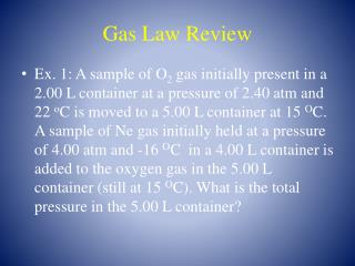 Gas Law Review