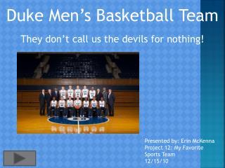 Duke Men�s Basketball Team