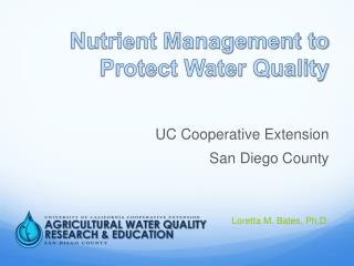 Nutrient Management to Protect Water Quality